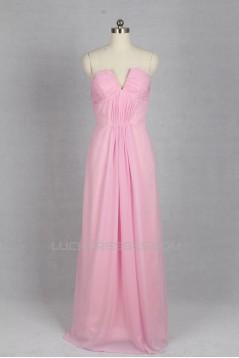 A-Line Long Pink Chiffon Bridesmaid Dresses/Evening Dresses BD010531