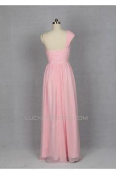 A-Line One-Shoulder Long Pink Chiffon Bridesmaid Dresses/Evening Dresses BD010532