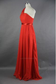 A-Line One-Shoulder Long Chiffon Bridesmaid Dresses/Evening Dresses BD010533