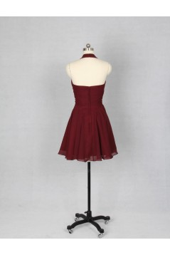 A-Line Halter Short Chiffon Bridesmaid Dresses/Evening Dresses BD010536