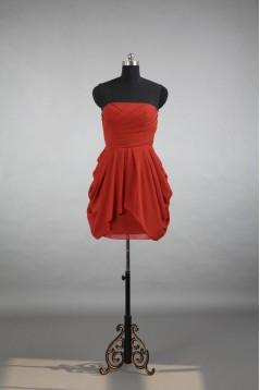 A-Line Strapless Short Chiffon Bridesmaid Dresses/Evening Dresses BD010539