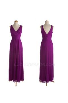 A-Line V-Neck Long Purple Chiffon Bridesmaid Dresses/Evening Dresses BD010540
