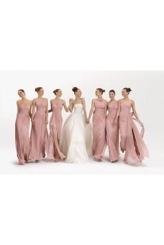 A-Line Long Pink Chiffon Bridesmaid Dresses/Evening Dresses BD010542