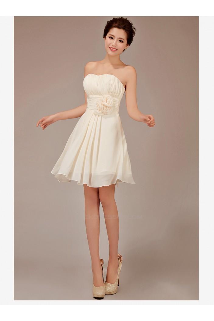A-Line Strapless Short Chiffon Bridesmaid Dresses/Evening Dresses BD010545