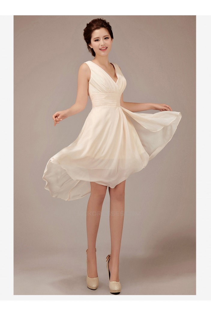 High Low V-Neck Short Chiffon Bridesmaid Dresses/Evening Dresses BD010549