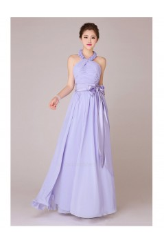 A-Line Halter Long Chiffon Bridesmaid Dresses/Evening Dresses BD010552