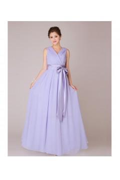 A-Line V-Neck Long Chiffon Bridesmaid Dresses/Evening Dresses BD010554
