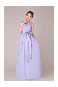 A-Line V-Neck Long Chiffon Bridesmaid Dresses/Evening Dresses BD010554