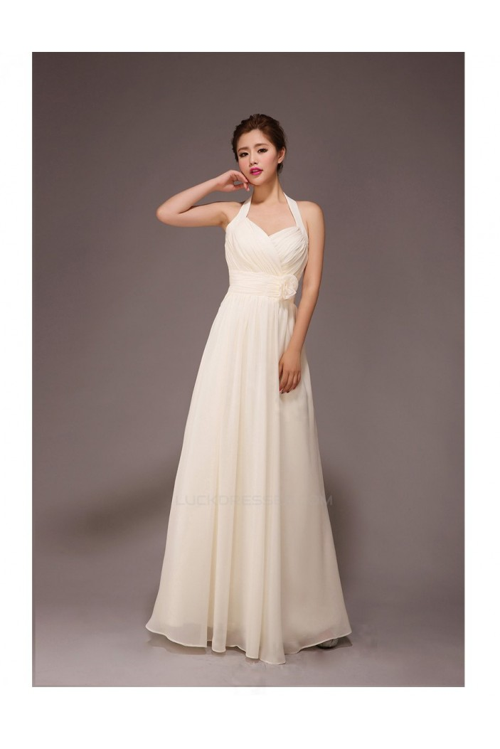 A-Line Halter Long Chiffon Bridesmaid Dresses/Evening Dresses BD010559