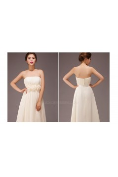 A-Line Strapless Long Chiffon Bridesmaid Dresses/Evening Dresses BD010560