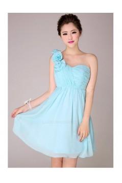 A-Line One-Shoulder Short Blue Chiffon Bridesmaid Dresses/Evening Dresses BD010565