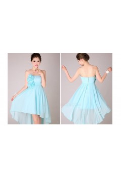 High Low Strapless Short Blue Chiffon Bridesmaid Dresses/Evening Dresses BD010566