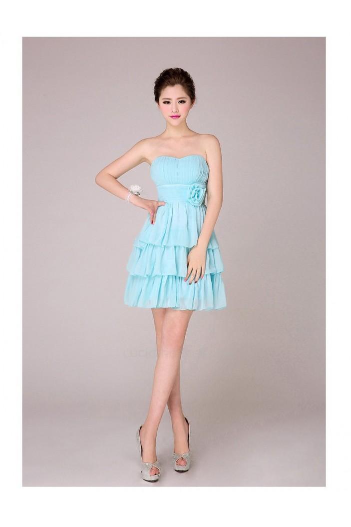 A-Line Strapless Short Blue Chiffon Bridesmaid Dresses/Evening Dresses BD010567