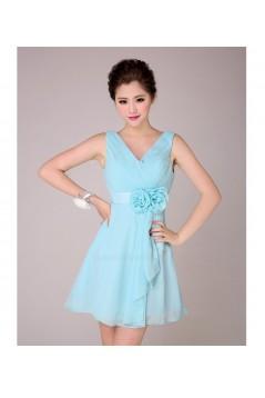 A-Line V-Neck Short Blue Chiffon Bridesmaid Dresses/Evening Dresses BD010568