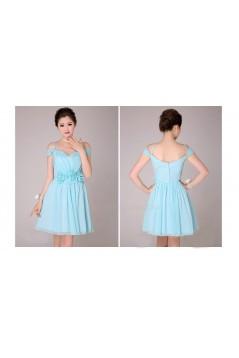 A-Line Off-The-Shoulder Short Blue Chiffon Bridesmaid Dresses/Evening Dresses BD010570