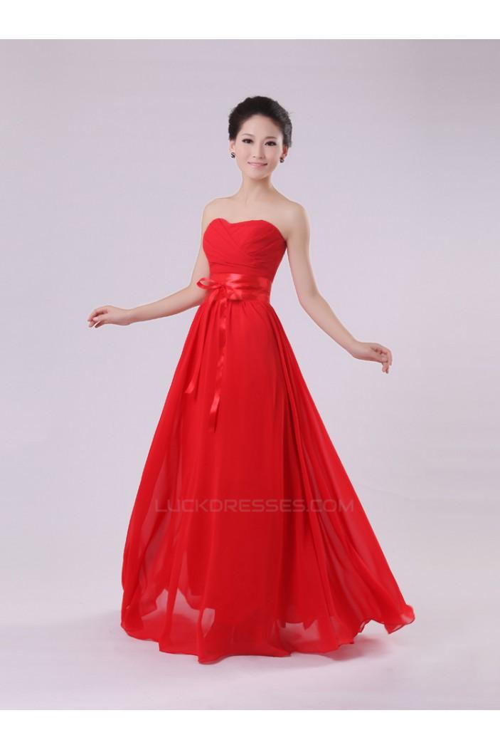 A-Line Strapless Long Red Chiffon Bridesmaid Dresses/Evening Dresses BD010572