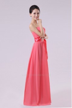 A-Line Strapless Long Chiffon Bridesmaid Dresses/Evening Dresses BD010573