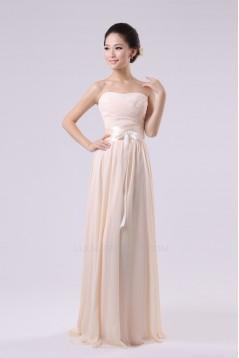 A-Line Strapless Long Chiffon Bridesmaid Dresses/Evening Dresses BD010574