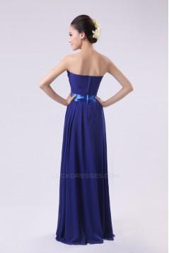 A-Line Strapless Long Royal Blue Chiffon Bridesmaid Dresses/Evening Dresses BD010575