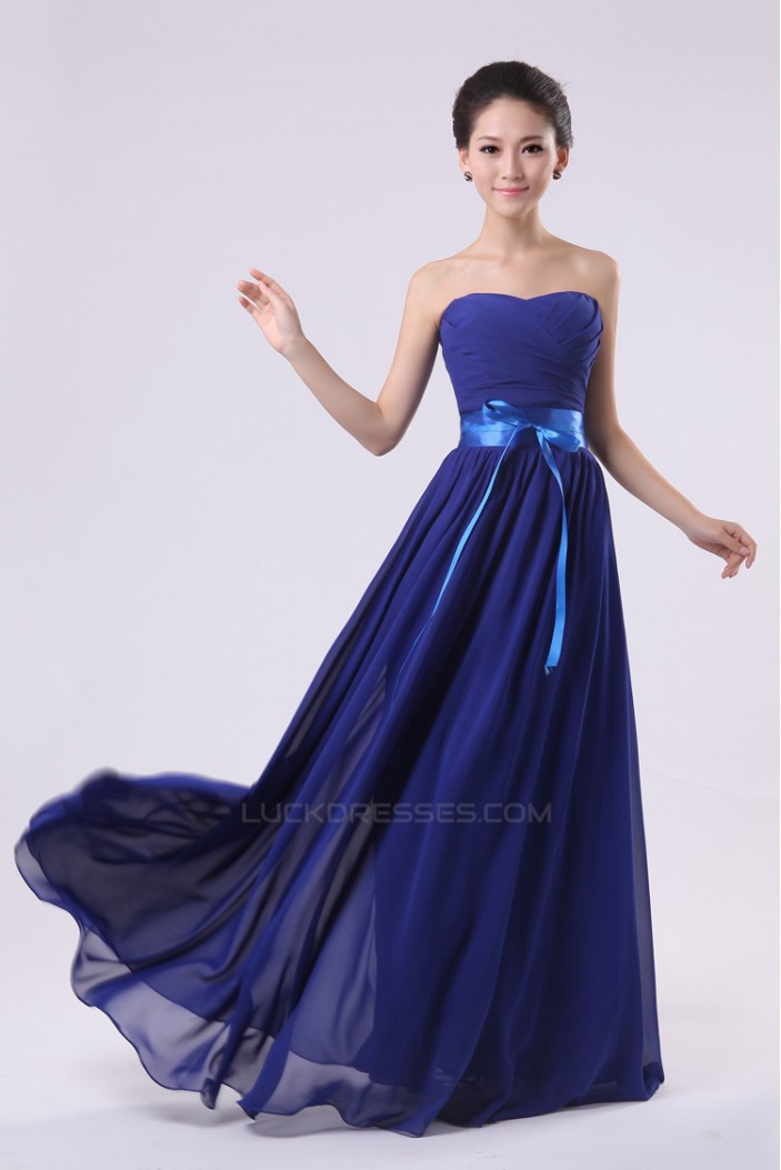 A-Line Strapless Long Royal Blue Chiffon Bridesmaid Dresses/Evening Dresses BD010575