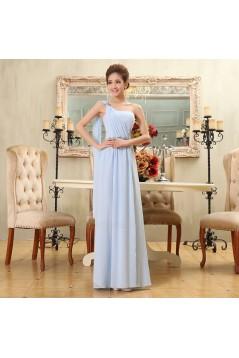 A-Line One-Shoulder Beaded Long Blue Chiffon Bridesmaid Dresses/Evening Dresses BD010581