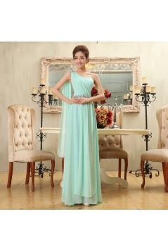 A-Line One-Shoulder Beaded Long Green Chiffon Bridesmaid Dresses/Evening Dresses BD010582