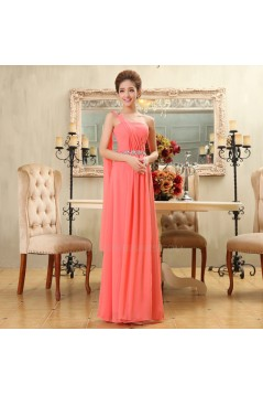 A-Line One-Shoulder Beaded Long Chiffon Bridesmaid Dresses/Evening Dresses BD010584