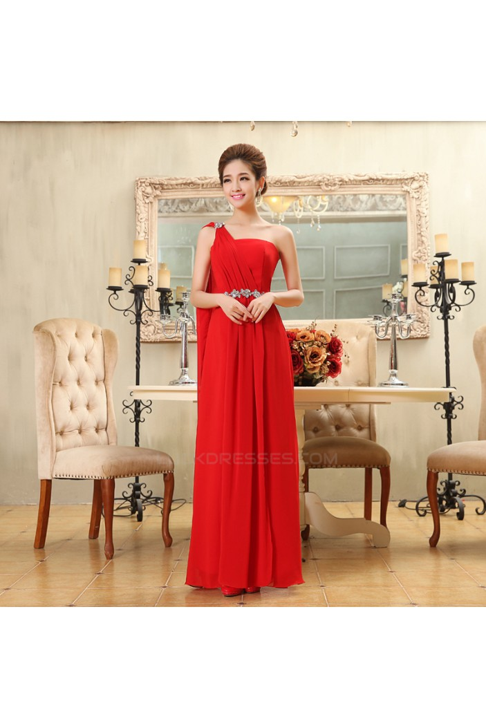 A-Line One-Shoulder Beaded Long Red Chiffon Bridesmaid Dresses/Evening Dresses BD010586