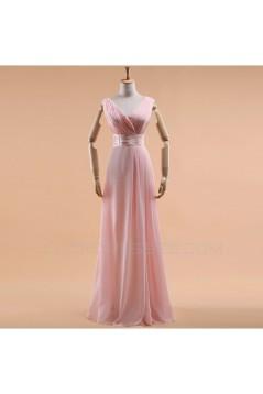 A-Line V-Neck Long Red Chiffon Bridesmaid Dresses/Evening Dresses BD010588