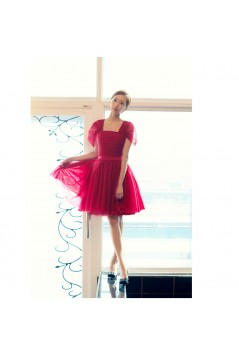 Short Cap-Sleeve Tulle Bridesmaid Dresses/Evening Dresses BD010589