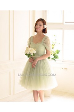 Short Cap-Sleeve Tulle Green Bridesmaid Dresses/Evening Dresses BD010590