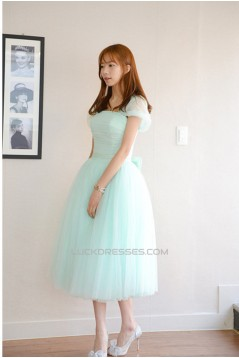 Short Cap-Sleeve Tulle Blue Bridesmaid Dresses/Evening Dresses BD010592