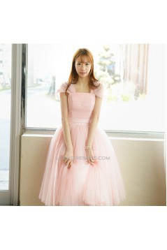Short Cap-Sleeve Tulle Pink Bridesmaid Dresses/Evening Dresses BD010593