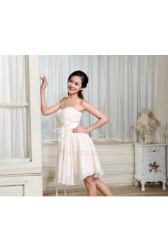 A-Line Strapless Short Chiffon Bridesmaid Dresses/Evening Dresses BD010594