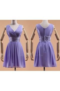 A-Line V-Neck Short Chiffon Bridesmaid Dresses/Evening Dresses BD010595