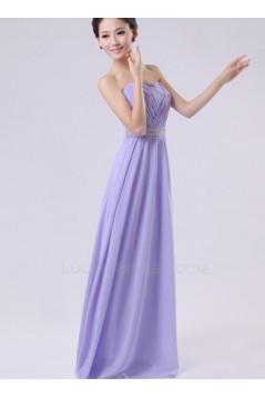A-Line Strapless Long Purple Chiffon Bridesmaid Dresses/Evening Dresses BD010602