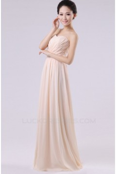 A-Line Strapless Long Blue Chiffon Bridesmaid Dresses/Evening Dresses BD010603