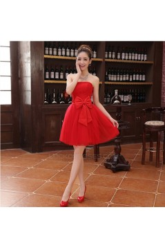A-Line Strapless Short Red Tulle and Lace Bridesmaid Dresses/Evening Dresses BD010604