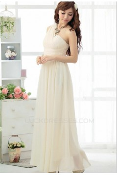 A-Line One-Shoulder Long Chiffon Bridesmaid Dresses/Evening Dresses BD010606