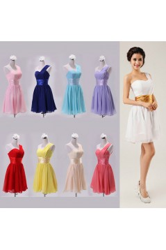 A-Line One-Shoulder Short Chiffon Bridesmaid Dresses/Evening Dresses BD010608