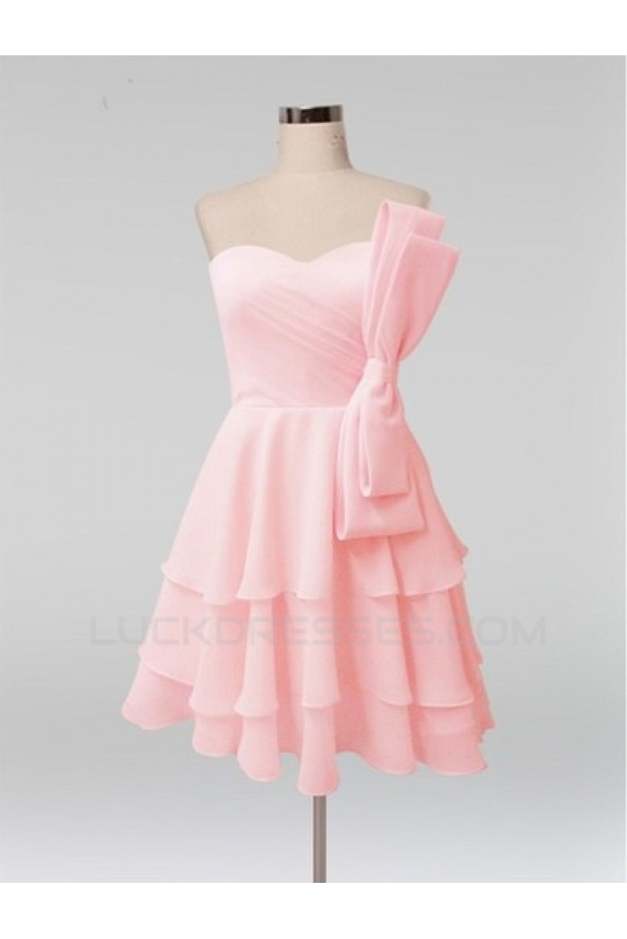 A-Line Short Pink Bridesmaid Dresses/Evening Dresses BD010609
