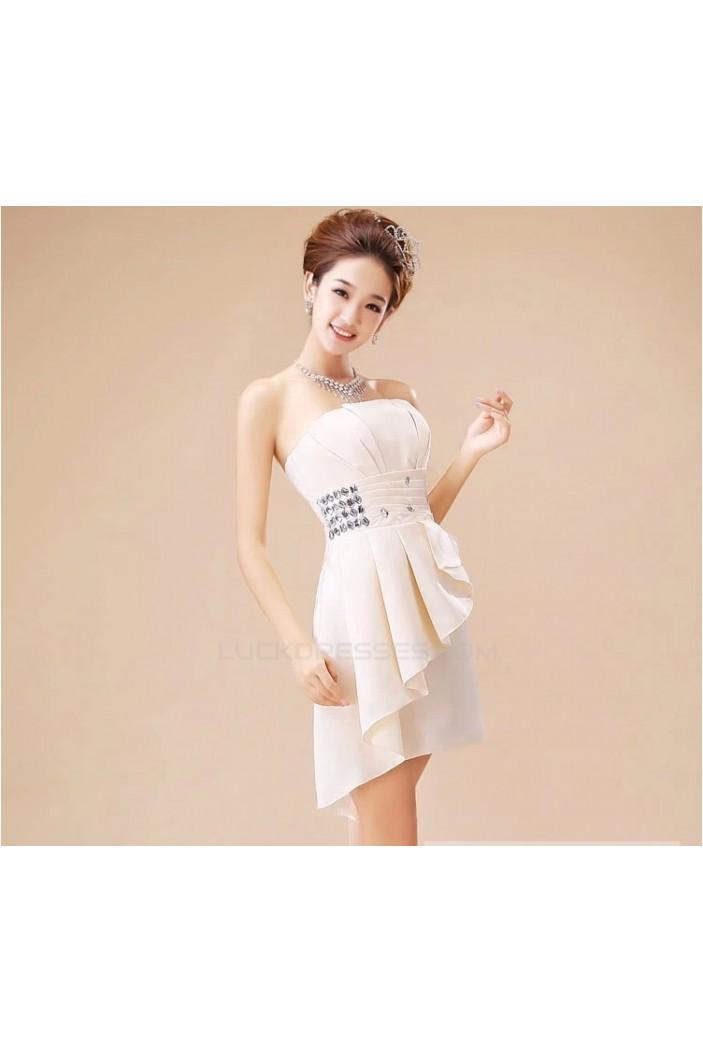 A-Line Strapless Short Beaded Bridesmaid Dresses/Evening Dresses BD010610
