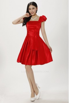 A-Line Short Red Satin Bridesmaid Dresses/Evening Dresses BD010611