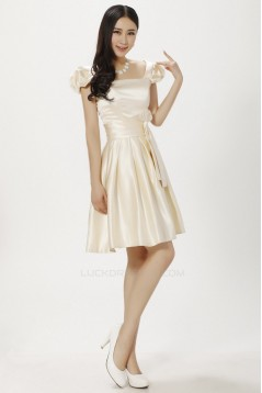 A-Line Short Satin Bridesmaid Dresses/Evening Dresses BD010612