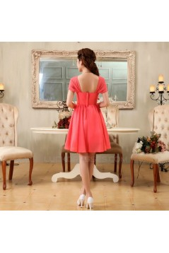 A-Line Off-The-Shoulder Short Beaded Chiffon Bridesmaid Dresses/Evening Dresses BD010613