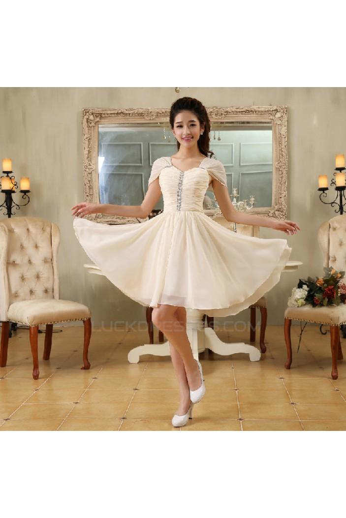 A-Line Off-The-Shoulder Short Beaded Chiffon Bridesmaid Dresses/Evening Dresses BD010614