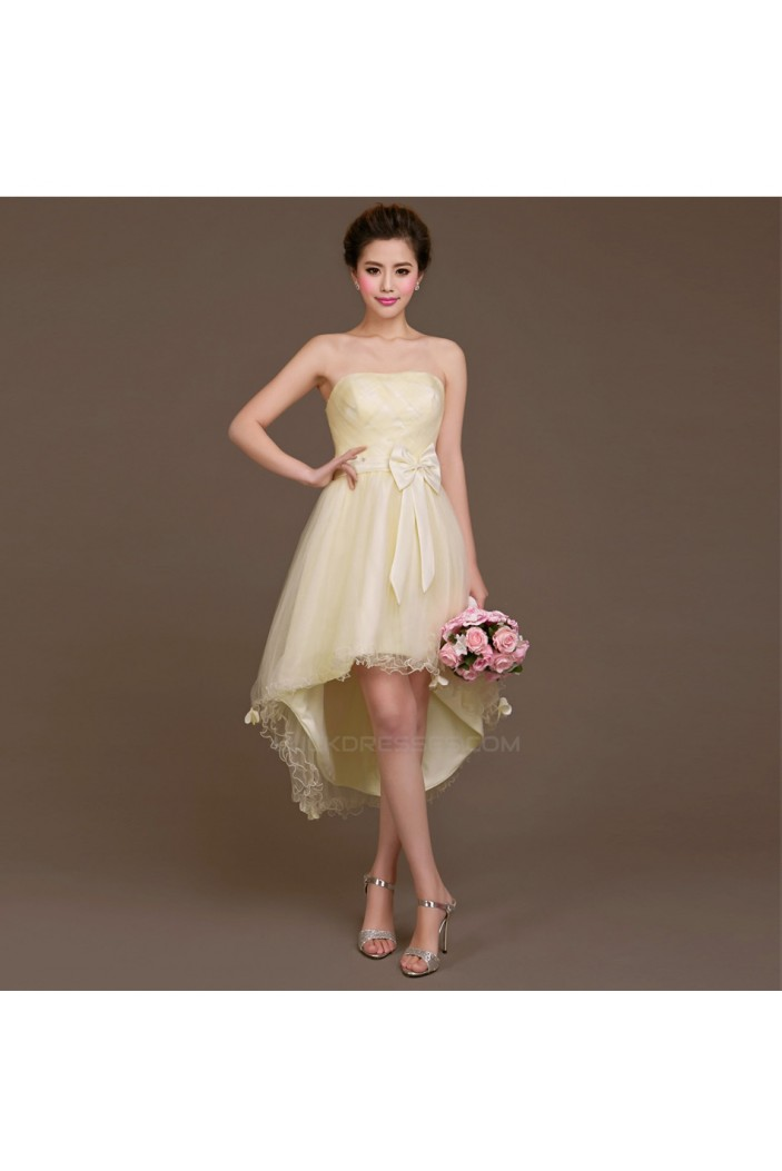 High Low Strapless Tulle Bridesmaid Dresses/Evening Dresses BD010615