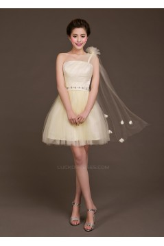 A-Line One-Shoulder Beaded Tulle Short Bridesmaid Dresses/Evening Dresses BD010617