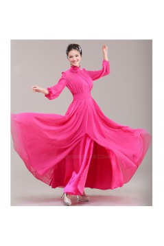 A-Line High Neck Long Sleeve Pink Chiffon Bridesmaid Dresses/Evening Dresses BD010622