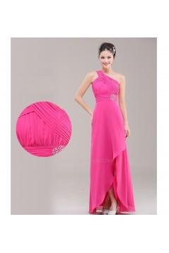 A-Line One-Shoulder Beaded Pink Chiffon Bridesmaid Dresses/Evening Dresses BD010623